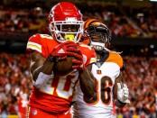Kansas City Chiefs wide receiver Tyreek Hill scores a touchdown against the Cincinnati Bengals
