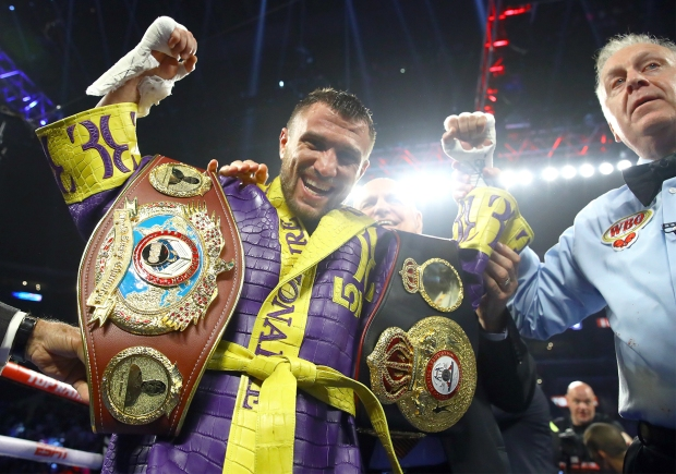 Boxer Vasiliy Lomachenko after defeating Anthony Crolla with fourth-round knockout