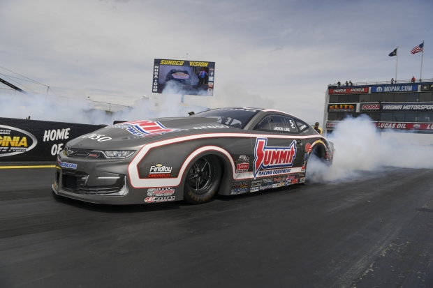 Pro Stock driver Jason Line racing on Friday at the Virginia NHRA Nationals