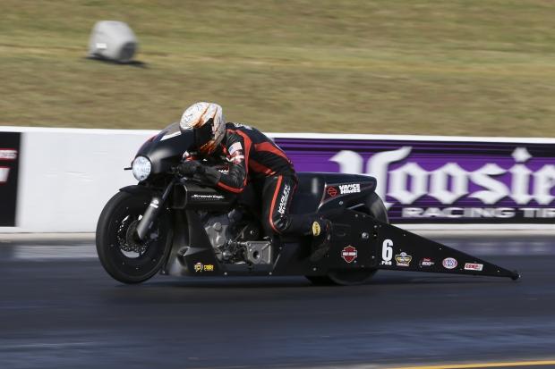 Pro Stock Motorcycle rider Andrew Hines racing on Saturday at the Virginia NHRA Nationals