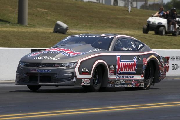 Pro Stock driver Jason Line racing on Saturday at the Virginia NHRA Nationals