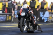 Pro Stock Motorcycle rider Andrew Hines racing on Sunday at the Virginia NHRA Nationals