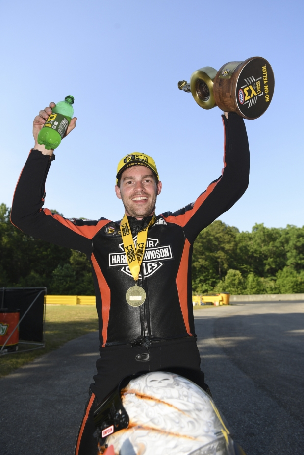 Pro Stock Motorcycle rider Andrew Hines after winning the 2019 Virginia NHRA Nationals