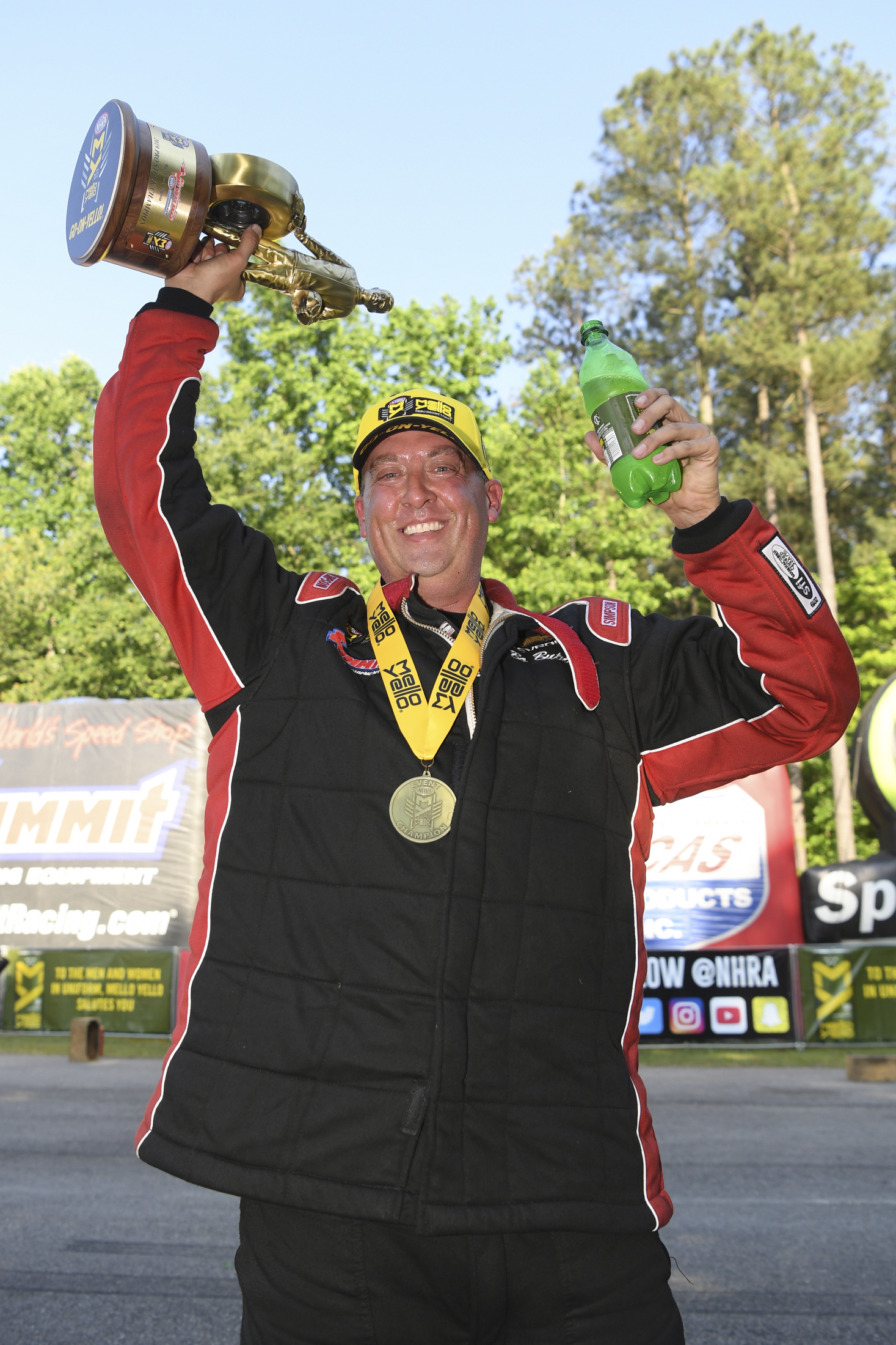 Pro Stock driver Bo Butner with the Wally after winning the 2019 Virginia NHRA Nationals