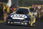 Funny Car pilot Ron Capps racing on Sunday at the Virginia NHRA Nationals