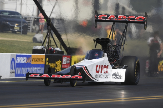 Top Fuel Dragster pilot Steve Torrence racing on Sunday at the Virginia NHRA Nationals