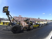 Top Fuel Dragster pilot Leah Pritchett racing on Sunday at NHRA Southern Nationals