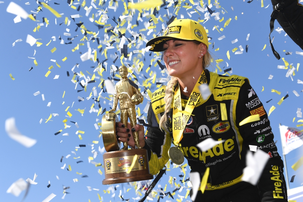 Top Fuel Dragster pilot Leah Pritchett after winning the Wally at the NHRA Southern Nationals