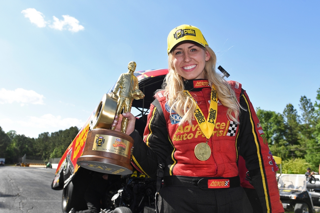 Former Funny Car pilot Courtney Force after winning the Wally at the NHRA Southern Nationals