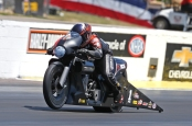 Pro Stock Motorcycle rider Eddie Krawiec racing on Sunday at the NHRA Southern Nationals