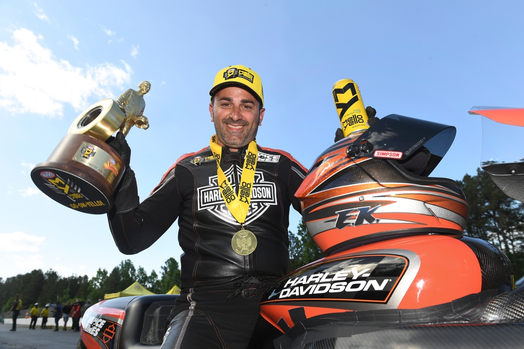 Pro Stock Motorcycle rider Eddie Krawiec with the Wally on Sunday after winning the NHRA Southern Nationals