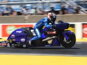 Pro Stock Motorcycle rider Matt Smith racing on Sunday at the Route 66 NHRA Nationals