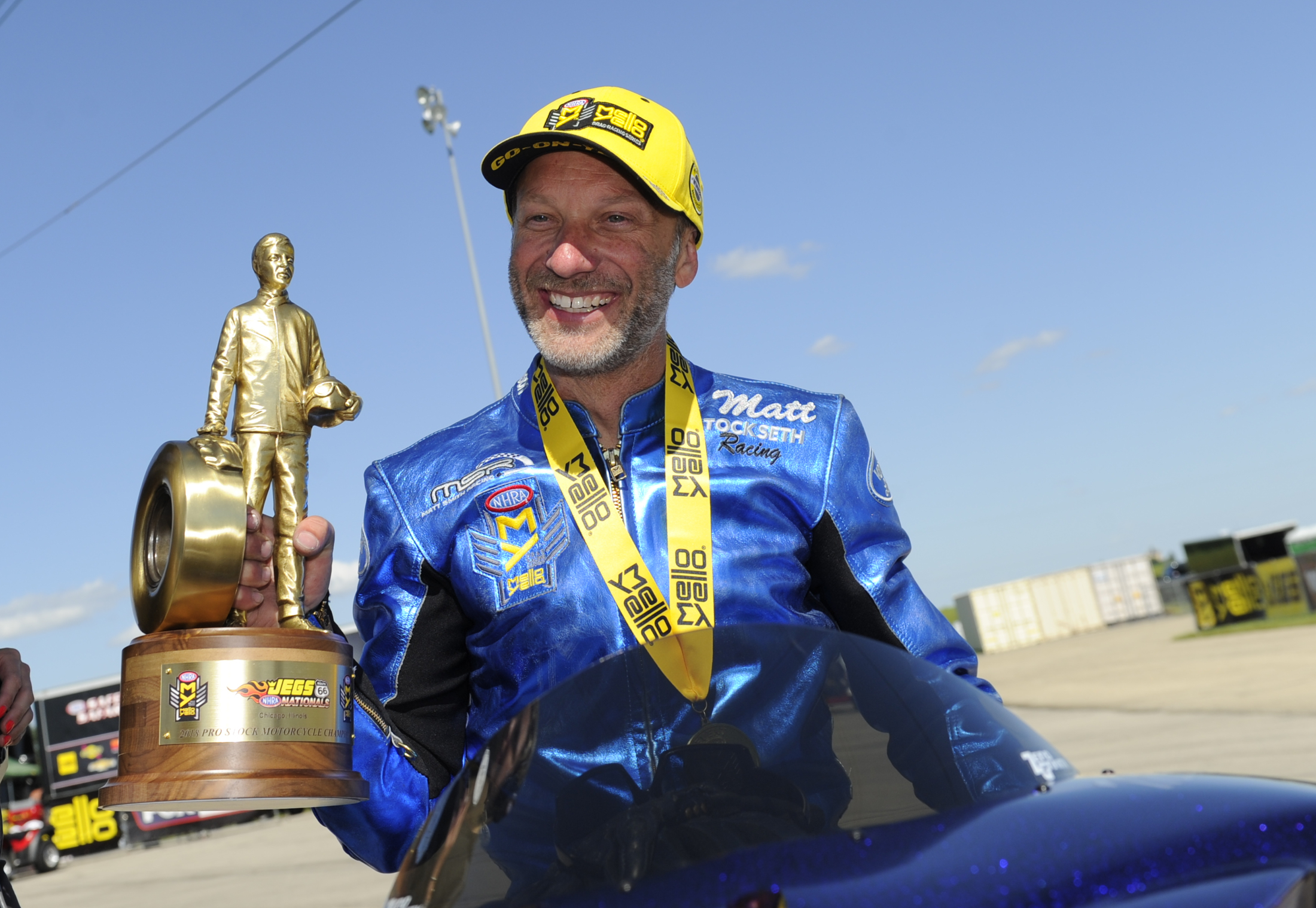 Pro Stock Motorcycle rider Matt Smith after winning the Wally on Sunday at the Route 66 NHRA Nationals