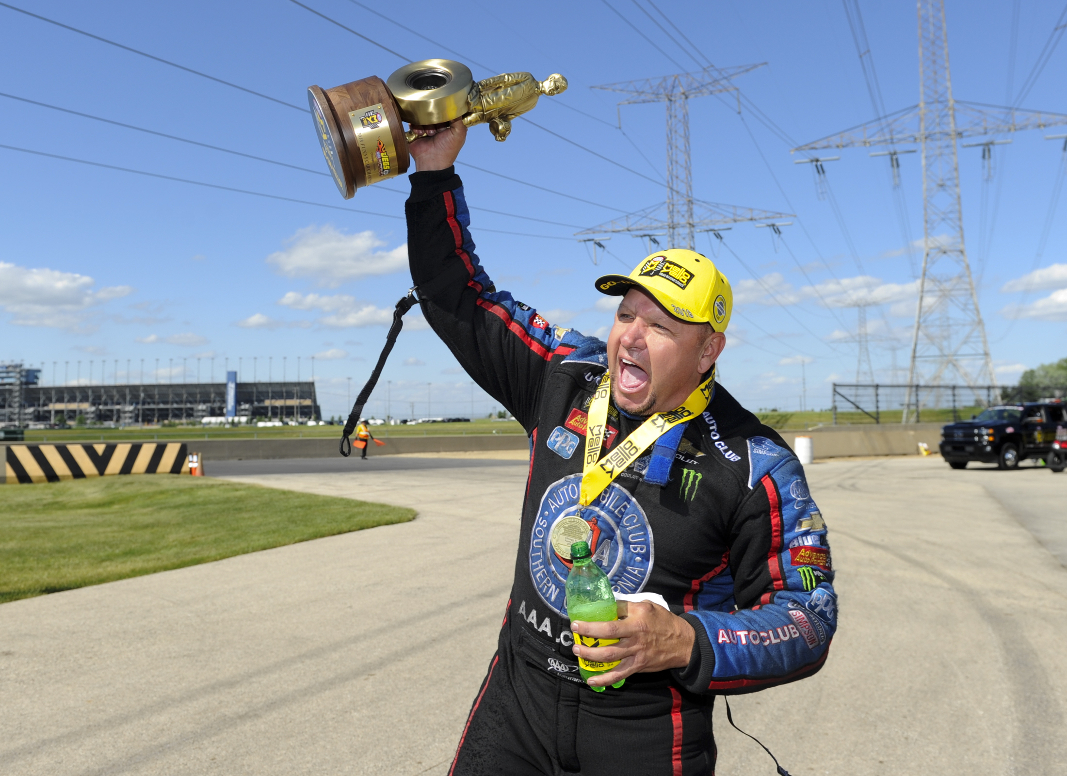 Funny Car pilot Robert Hight after winning the Wally on Sunday at the 2018 Route 66 NHRA Nationals
