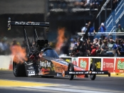 Top Fuel Dragster pilot Clay Millican racing on Sunday at the 2018 Route 66 NHRA Nationals