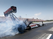 Top Fuel Dragster pilot Steve Torrence racing on Sunday at the 2018 Virginia NHRA Nationals