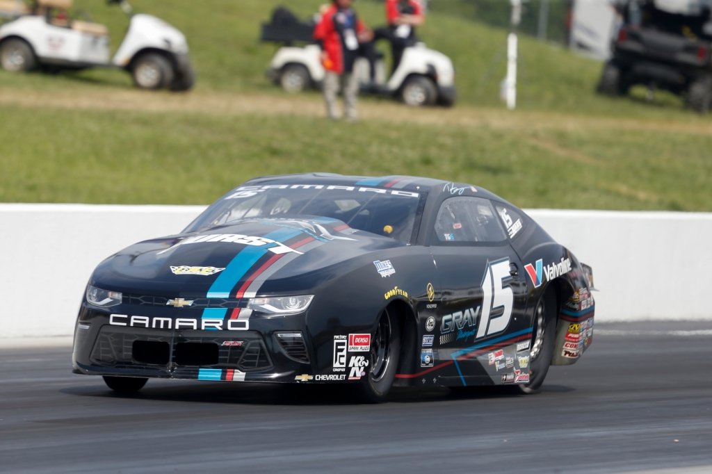 Former Pro Stock driver Tanner Gray racing on Sunday at the Virginia NHRA Nationals