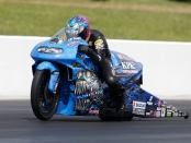 Pro Stock Motorcycle rider L.E. Tonglet racing on Sunday at the 2018 Virginia NHRA Nationals