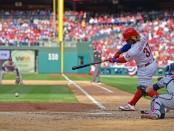 Philadelphia Phillies outfielder Odubel Cabrera hits a single against Atlanta Braves
