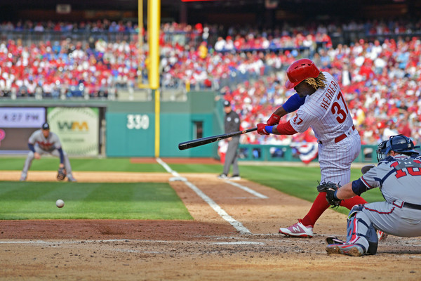 Philadelphia Phillies outfielder Odubel Cabrera hits a single against Atlanta Braves