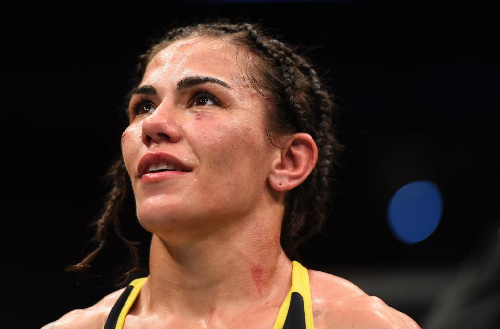 MMA fighter Jéssica Andrade celebrates her win over Angela Hill at UFC Fight Night from the Toyota Center