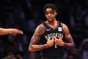Brooklyn Nets point guard D'Angelo Russell reacts after a call against the Philadelphia 76ers in the 2019 NBA Playoffs
