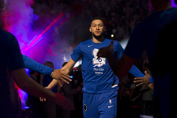 Philadelphia 76ers guard Ben Simmons is introduced prior to Game 5 of the 2019 NBA playoffs against the Brooklyn Nets