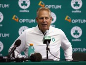 Boston Celtics general manager Danny Ainge speaking to the media during media day