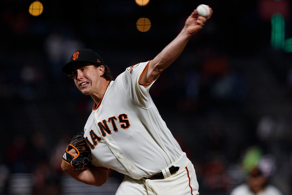 San Francisco Giants pitcher Derek Holland pitching against the San Diego Padres