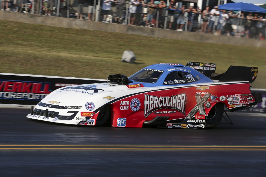Living legend Funny Car pilot John Force racing on Saturday at the Virginia NHRA Nationals