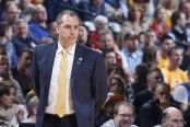 Former Indiana Pacers head coach Frank Vogel looks on against the Cleveland Cavaliers