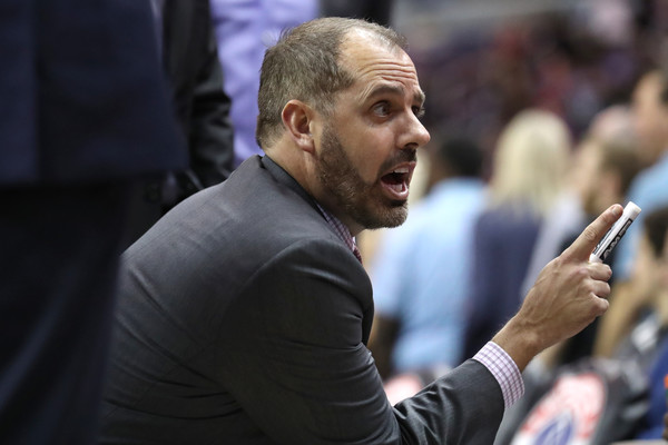 Former Orlando Magic head coach Frank Vogel talking to his team during a timeout against the Washington Wizards