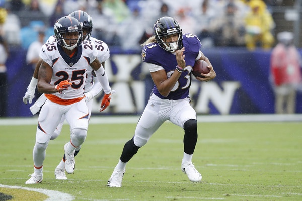Denver Broncos cornerback Chris Harris Jr. attempts to tackle Willie Snead IV against the Baltimore Ravens