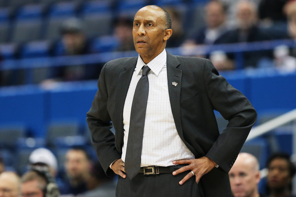 UCF Knights men's basketball coach Johnny Dawkins looks on against the SMU Mustangs in the 2017 AAC Basketball Tournament