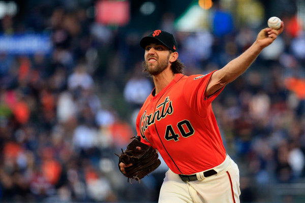 San Francisco Giants pitcher Madison Bumgarner pitching against the New York Yankees