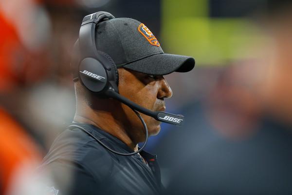 Former Cincinnati Bengals head coach Marvin Lewis looks on against the Atlanta Falcons