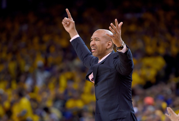 Former New Orleans Pelicans head coach Monty Williams reacts to a call against the Golden State Warriors in the 2015 NBA Playoffs