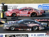Pro Stock driver Bo Butner racing against his KB Racing teammate, Greg Anderson, in the final round at the Virginia NHRA Nationals