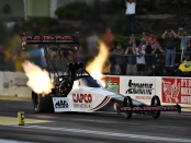 Top Fuel Dragster pilot Steve Torrence racing on Friday at the Menards NHRA Heartland Nationals presented by Minties