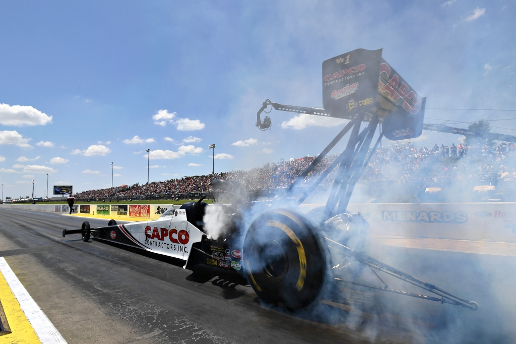 Top Fuel Dragster pilot Steve Torrence racing on Saturday at the Menard's NHRA Heartland Nationals presented by Minties