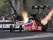 Top Fuel Dragster pilot Doug Kalitta racing on Friday at the NHRA Thunder Valley Nationals