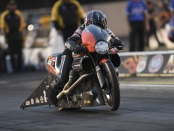 Pro Stock Motorcycle rider Eddie Krawiec racing on Friday at the Route 66 NHRA Nationals