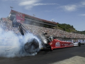 Mac Tools Top Fuel Dragster pilot Doug Kalitta racing on Saturday at the NHRA Thunder Valley Nationals