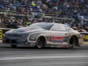 Pro Stock driver Jason Line racing on Friday at the Route 66 Nationals