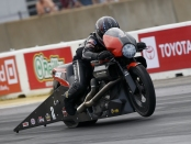 Pro Stock Motorcycle rider Eddie Krawiec racing on Saturday at the Route 66 NHRA Nationals