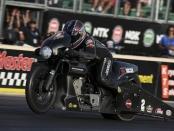 Screamin' Eagle Vance & Hines Harley-Davidson Pro Stock Motorcycle rider Eddie Krawiec racing on Friday at the Summit Racing Equipment NHRA Nationals