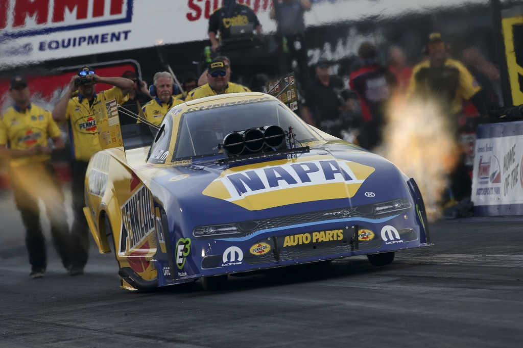 Funny Car pilot Ron Capps racing on Friday at the Summit Racing Equipment NHRA Nationals