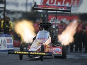 Top Fuel Dragster pilot Brittany Force racing on Friday at the Summit Racing Equipment NHRA Nationals