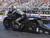 Pro Stock Motorcycle rider Eddie Krawiec racing on Saturday at the Summit Racing Equipment NHRA Nationals