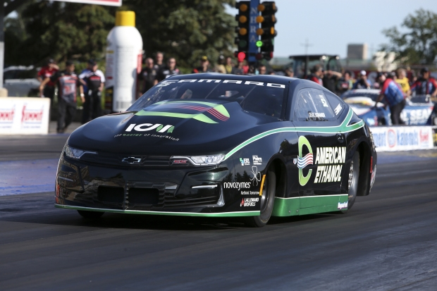 Pro Stock driver Deric Kramer racing on Saturday at the Summit Racing Equipment NHRA Nationals